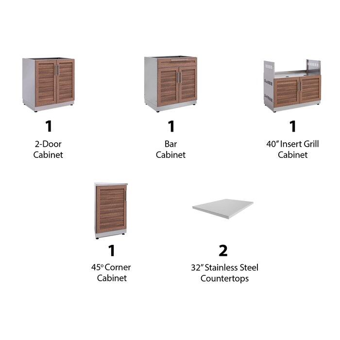Excellent Outdoor Kitchen Aluminum Slate Grey 154 W X 24 D 7 Piece Set With Countertops Download Free Architecture Designs Rallybritishbridgeorg