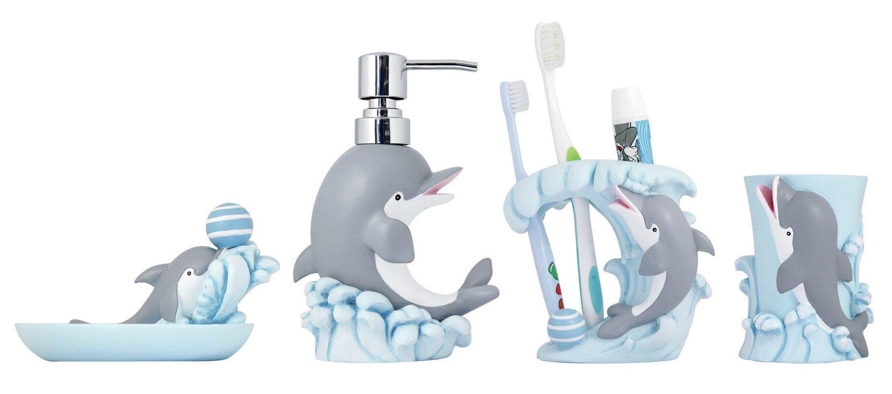 4 Piece Kids Bathroom Accessories Set