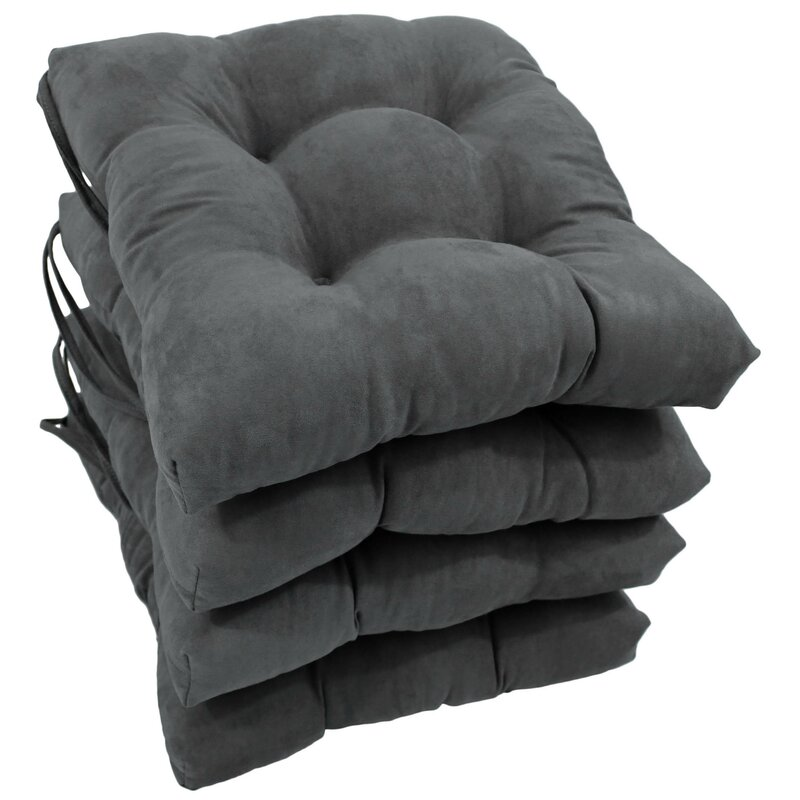 Andover Mills Indoor/Outdoor Dining Chair Cushion  Color: Grey