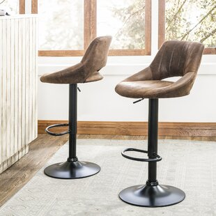 Newville PU Leather Adjustable Height Swivel Bar Stool (Set of 2)