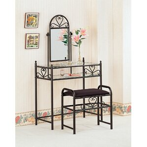Makeup Tables And Vanities Youll Love Wayfair - Mirrored makeup vanity set