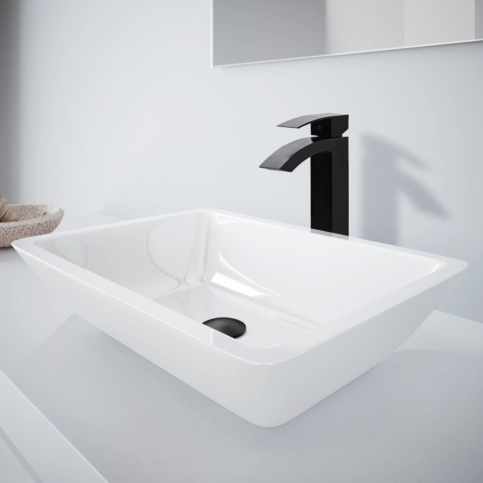 VIGO Medium Flat Edged Phoenix Stone Rectangular Vessel Bathroom Sink With  Faucet U0026 Reviews | Wayfair