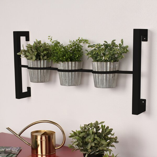Kate And Laurel 3 Piece Groves Metal Wall Planter Set