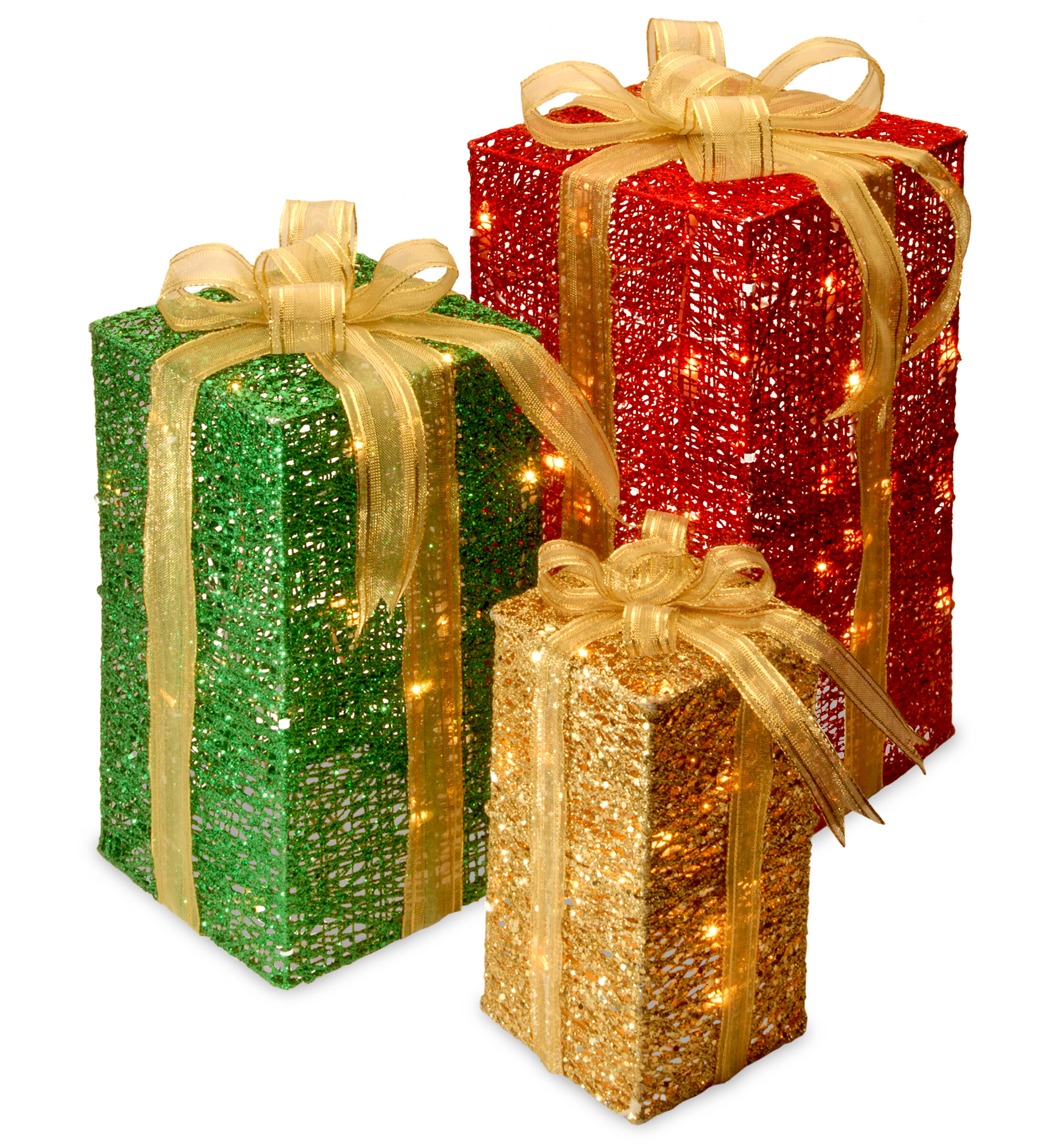 National Tree Co. 3 Piece Sisal Gift Box Lighted Display & Reviews ...
