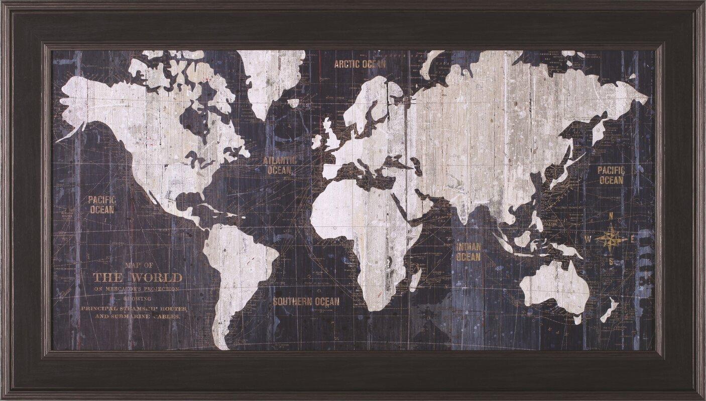 17 Stories Old World Map Blue Framed Graphic Art  Reviews  Wayfair