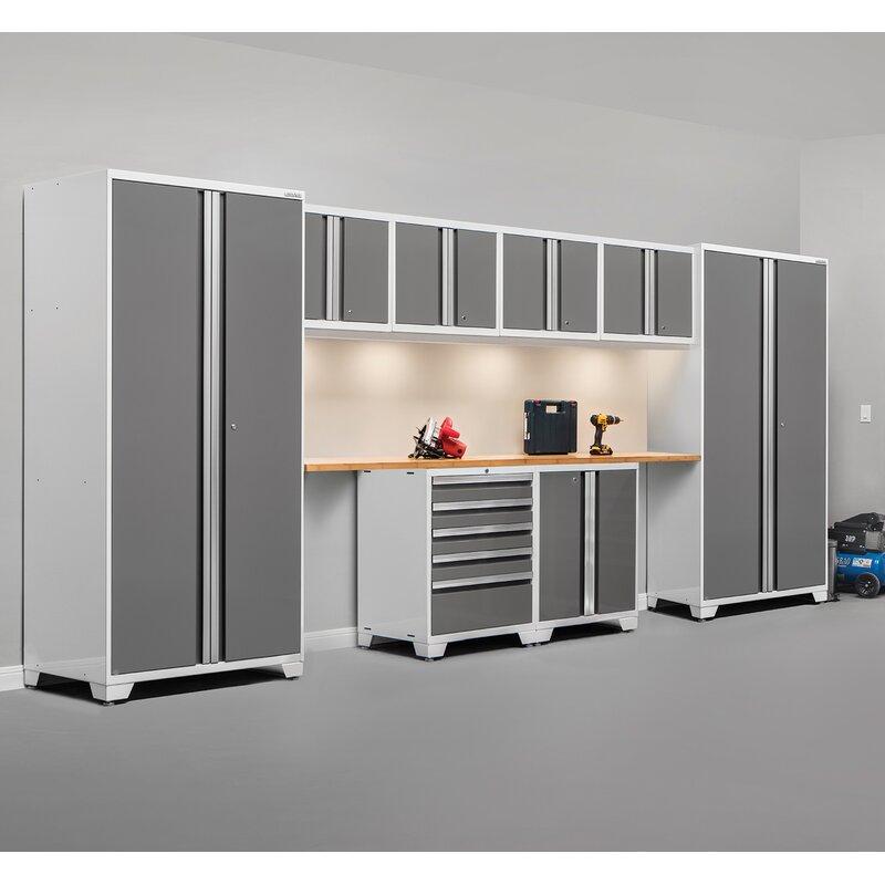 Pro 3.0 Series 10 Piece Garage Storage Cabinet Set With Worktop