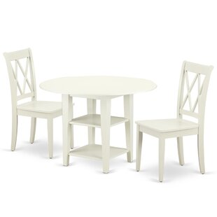 Kuester 3 Piece Drop Leaf Solid Wood Dining Set
