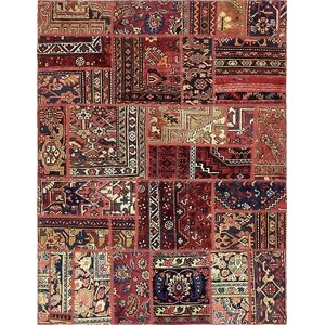 Sela Vintage Persian Hand Woven Wool Red Tribal Patchwork Area Rug with Fringe and Cotton Backing