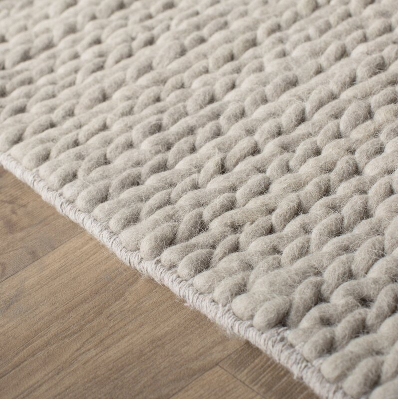 Mercury Row Dunfee Chunky Hand Woven Wool Off White Area
