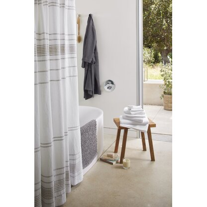 Rippled Stripe Organic Cotton Shower Curtain