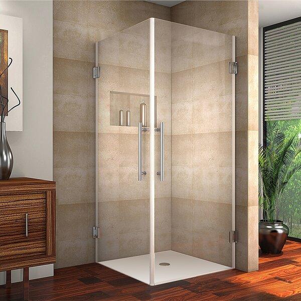 Aston Completely Frameless Dual-Door Square Hinged Shower ...