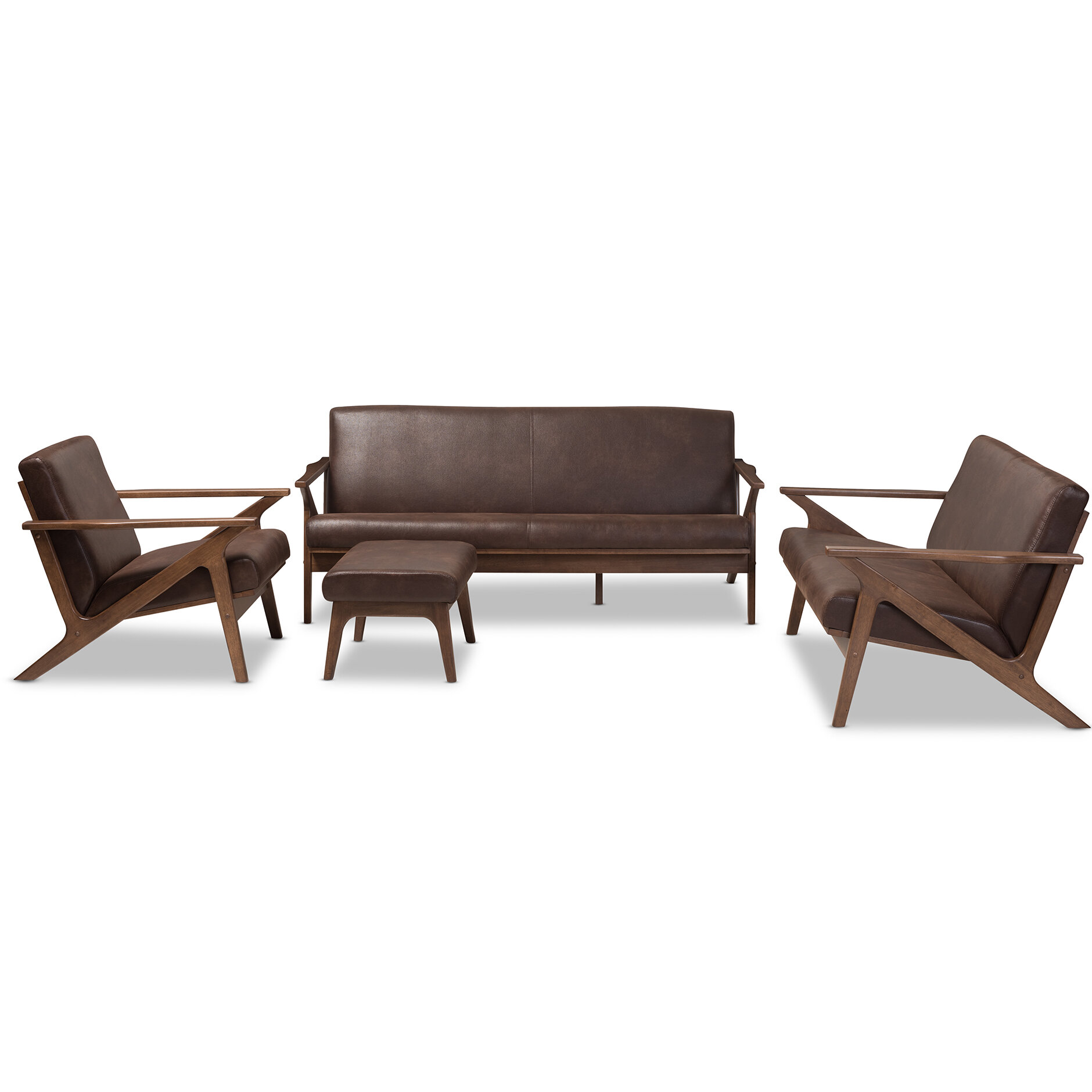 Wojtala Mid-Century Modern Solid 4 Piece Living Room Set