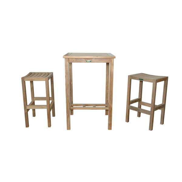 Anderson Teak Avalon Piece Teak Bar Height Dining Set Wayfair - Teak bar height table and chairs