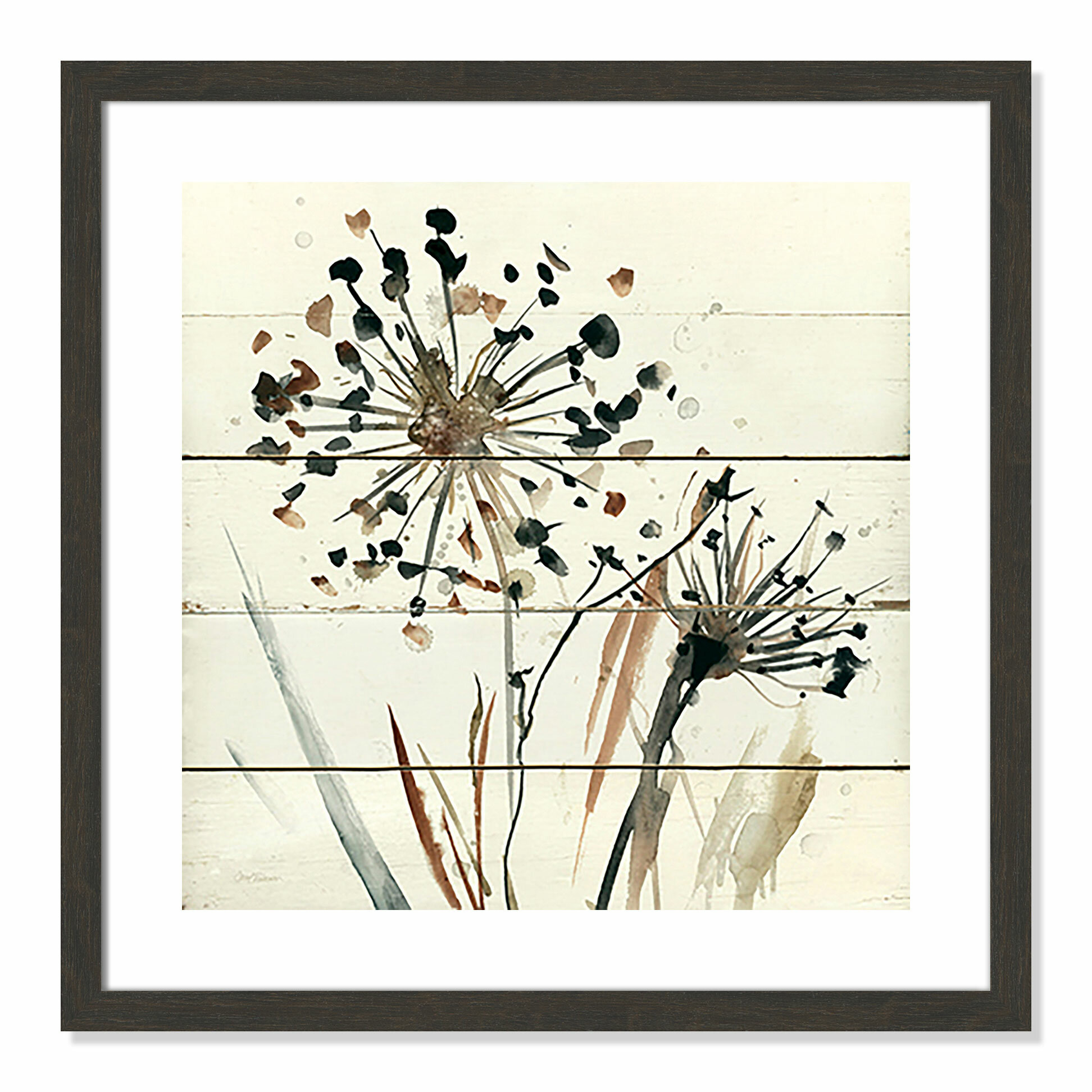 Gracie Oaks \'Natures Lace II\' Framed Watercolor Painting Print ...