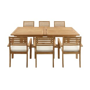 Teak 7 Piece Dining Set With Cushions