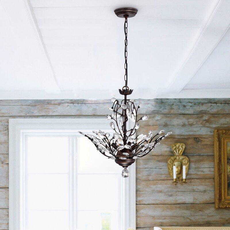 Alijah 4 light led crystal chandelier