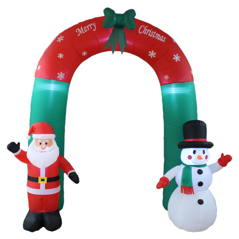 Christmas Inflatable Part - 24: Christmas Inflatable Santa Claus And Snowman Arch Yard Decoration