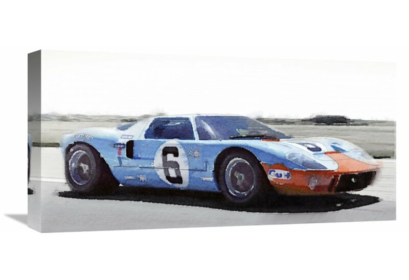 Ford Gt  Gulf Watercolor Painting Print On Wrapped Canvas