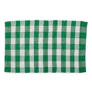 Weinert Buffalo Check Rag Cotton Shamrock Green Area Rug