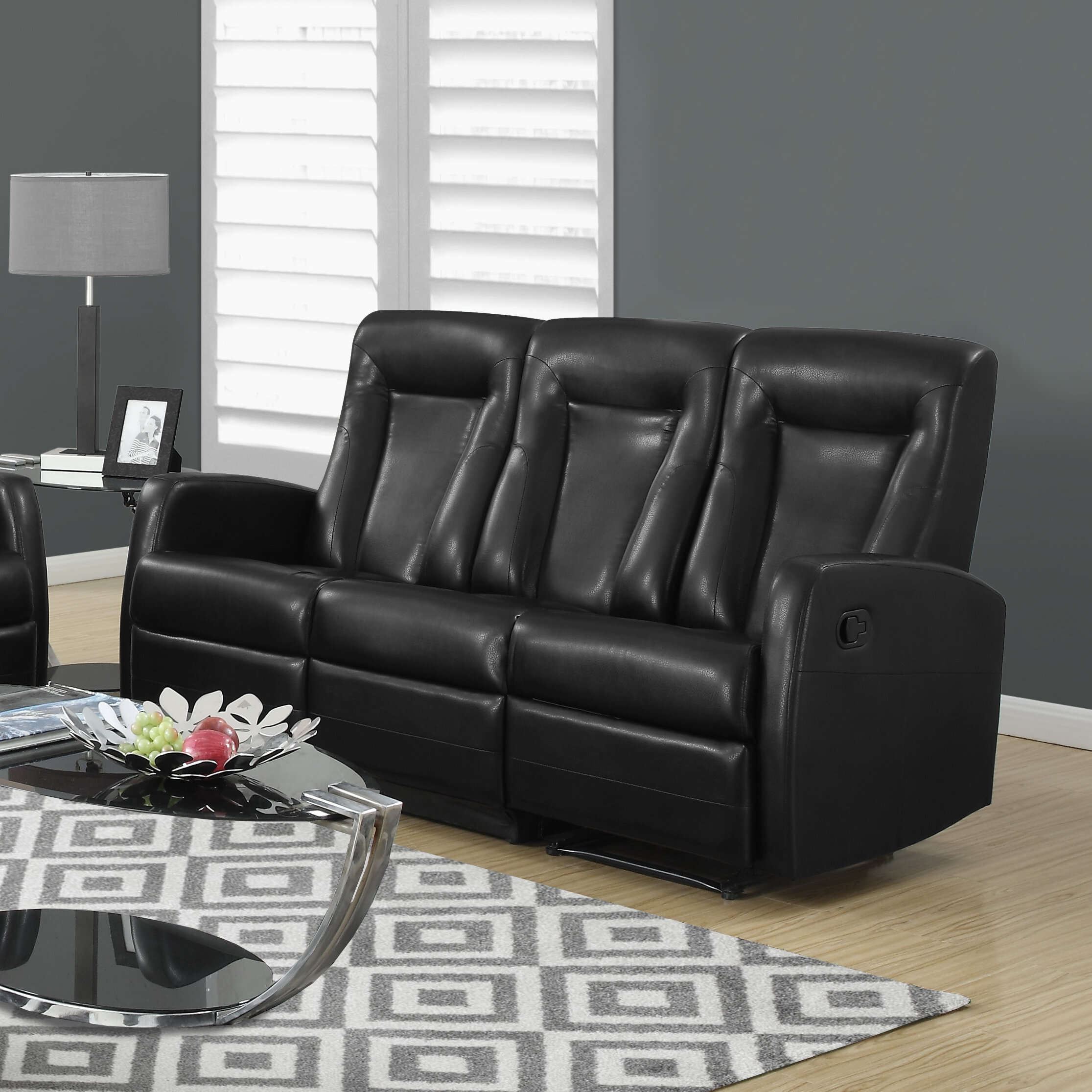 Monarch Specialties Inc. Bonded Leather Reclining Sofa U0026 Reviews | Wayfair