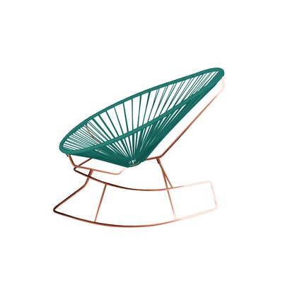 Brayden Studio Marvine Rocking Chair Color: Turquoise/Copper