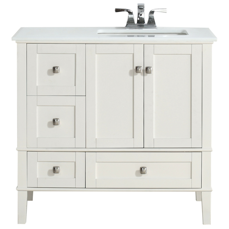 Simpli Home Chelsea Right Offset 37 Single Bathroom Vanity Set