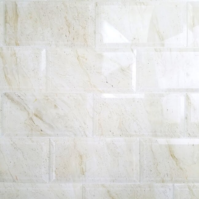 Abolos Nature X Beveled Glass Subway Tile In Crema Marfil - 4 by 8 subway tile