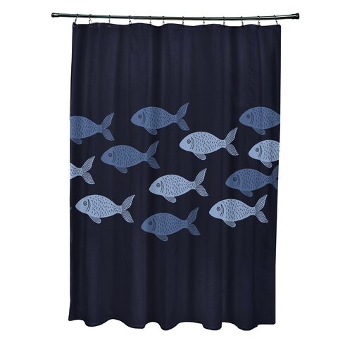 Cedarville Polyester Fish Line Coastal Shower Curtain