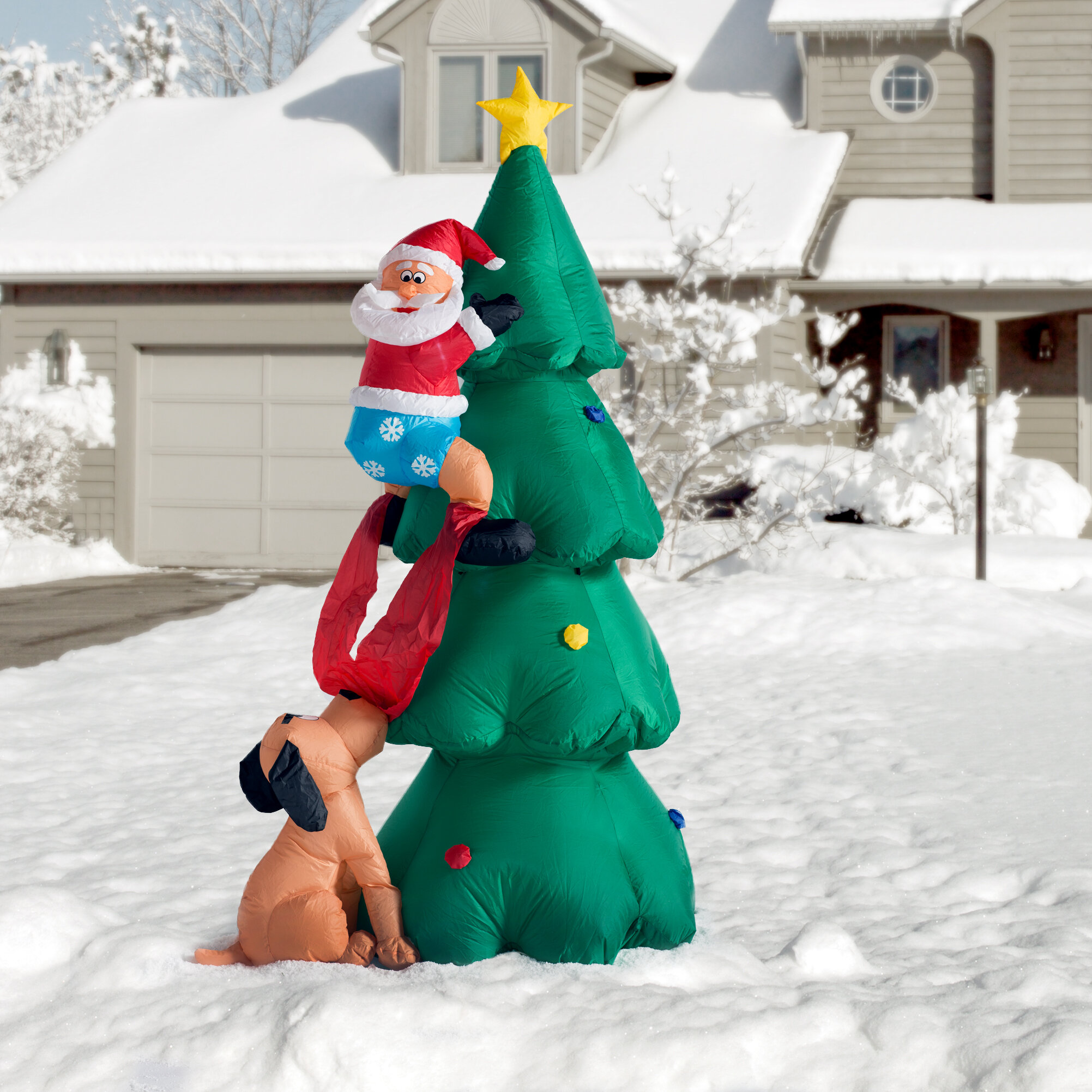 Three Posts Christmas Inflatable Santa Claus Climbing on Christmas ...