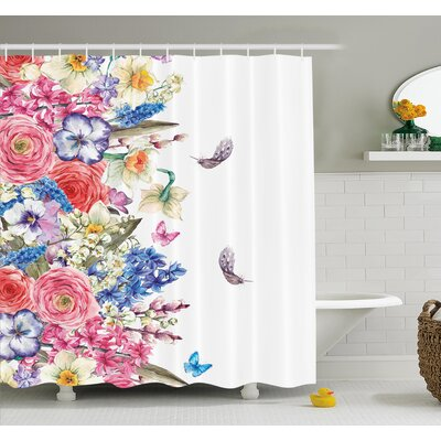 Flower Vintage Vivid Wreath With Daffodils Hyacinths Chamomile Lilies  Butterfly Picture Shower Curtain Set