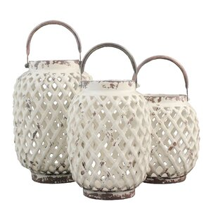 3 Piece Ceramic Lantern Set