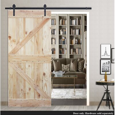 Two Side K Design Solid Wood Panelled Pine Slab Interior Barn Door