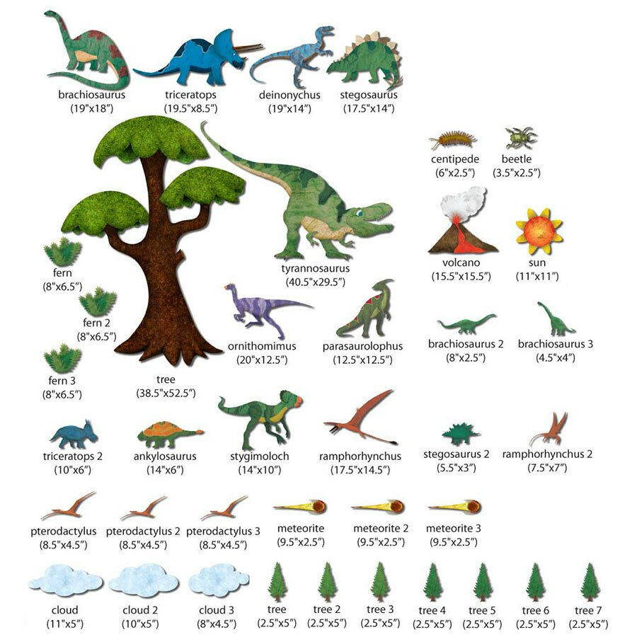 my wonderful walls dinosaur wall mural decal kit wayfair