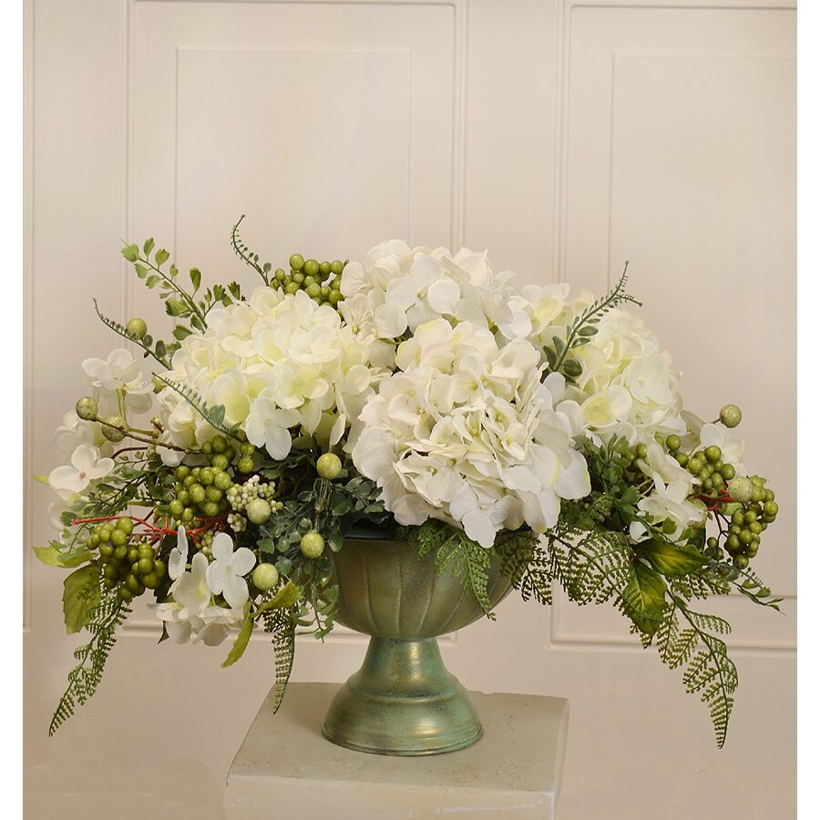 Silk Hydrangea Centerpiece In Bowl