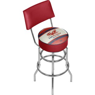 Pure Oil Vintage Swivel Bar Stool with Back