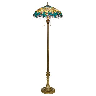 Art nouveau floor lamp wayfair art nouveau peacock tiffany 59 floor lamp aloadofball Choice Image
