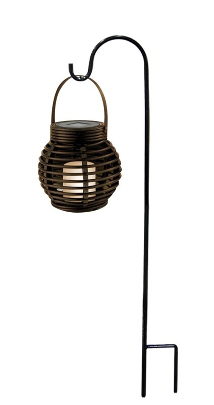 Lombardi LED Lantern With Shepardu0027s Hook Metal Garden Stake