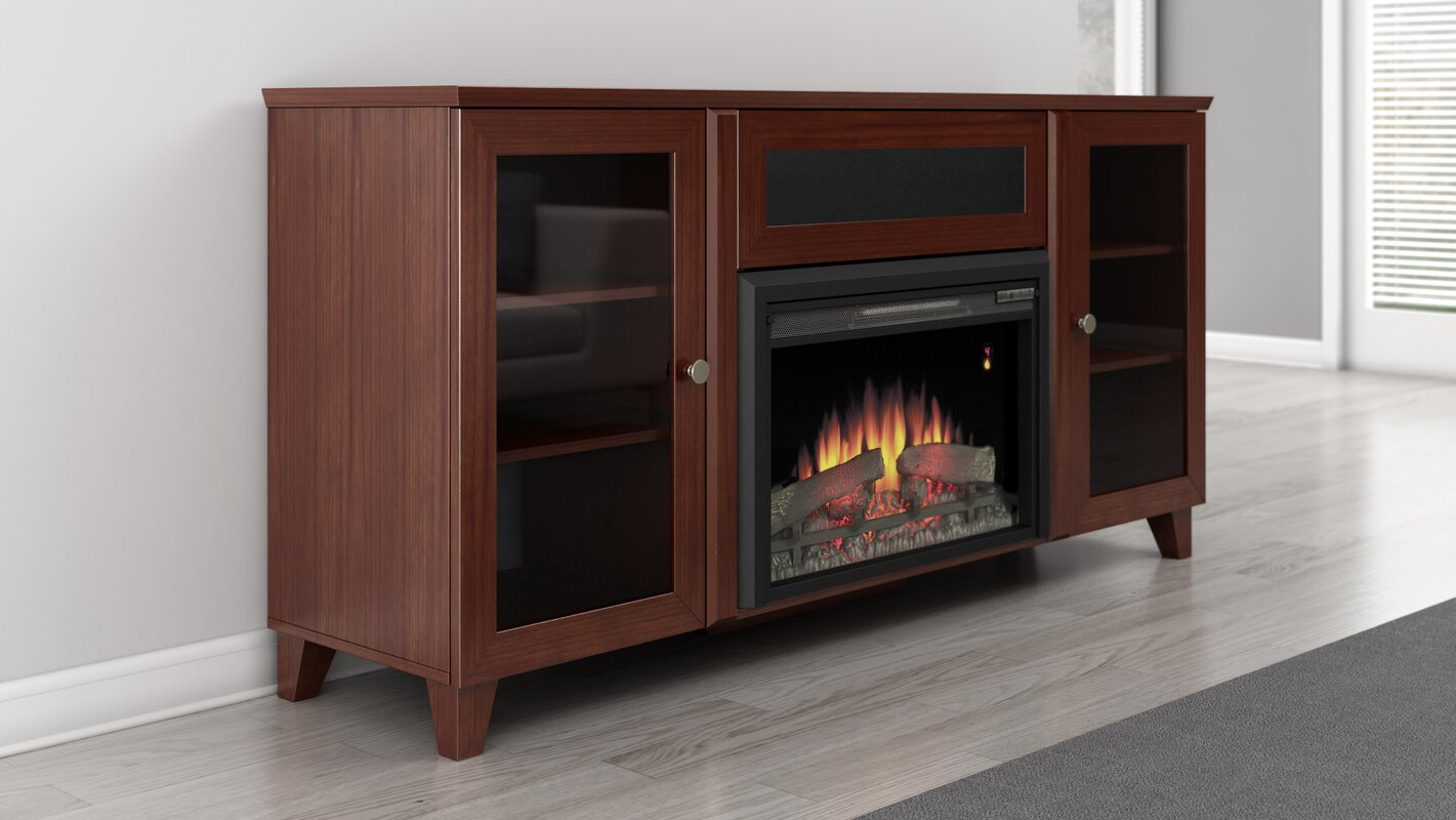 furnitech shaker 70 tv stand with fireplace reviews. Black Bedroom Furniture Sets. Home Design Ideas
