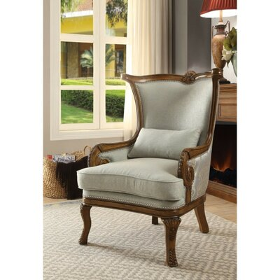 Swindell Fabric Upholstered Wooden Armchair With Pillow