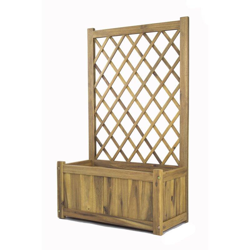 Wisteria Wood Planter Box With Lattice Panel Trellis
