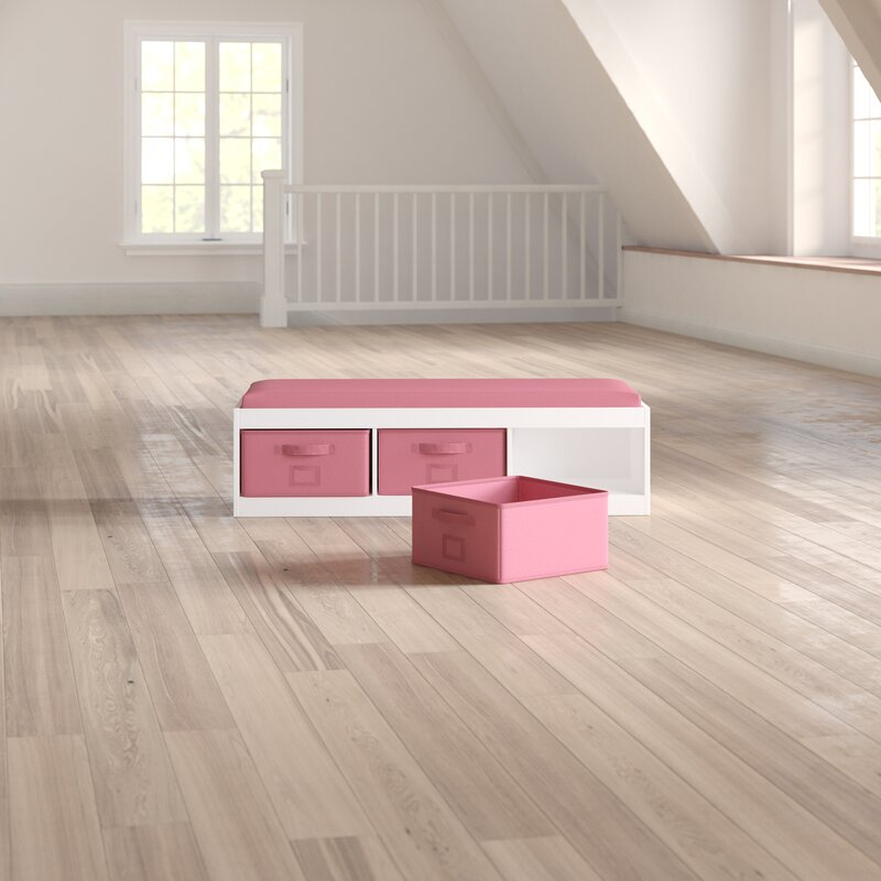 Auxier Kidu0027s Storage Bench with Cushion and Three Bins & Harriet Bee Auxier Kidu0027s Storage Bench with Cushion and Three Bins ...