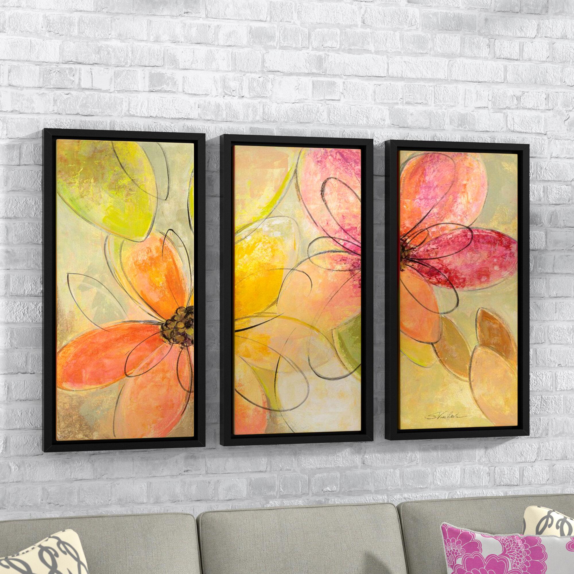 Latitude run neon floral by silvia vassileva 3 piece framed painting print set wayfair ca