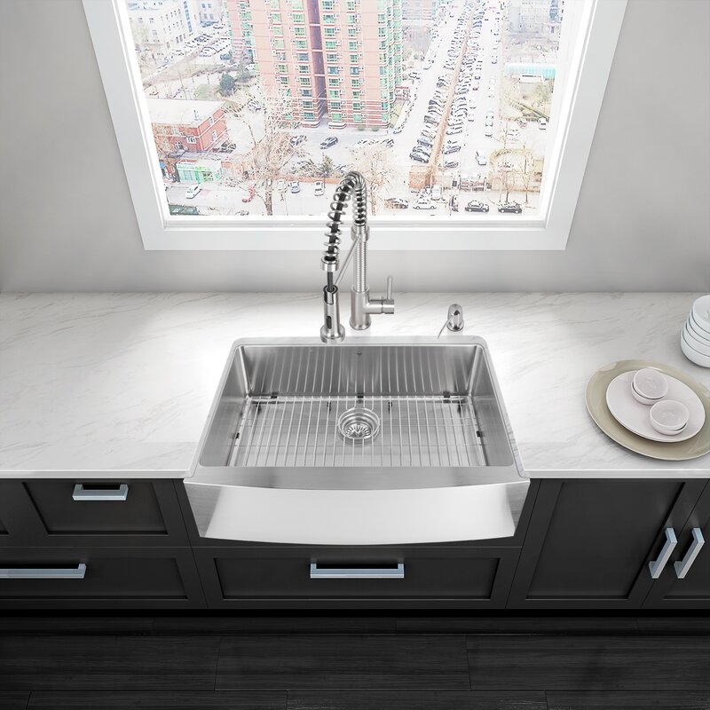 vigo bedford 30   x 22   farmhouse kitchen sink with sink grid and strainer vigo vigo bedford 30   x 22   farmhouse kitchen sink with sink grid      rh   wayfair com