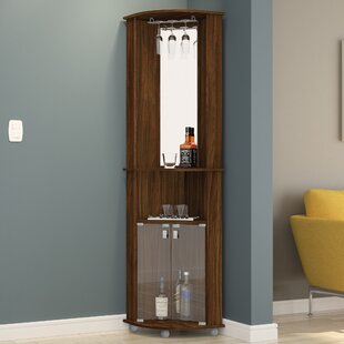 Corner Bar Cabinet With Mirrored Wall