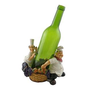 Fran Laurel and Hardy with Basket 1 Bottle Tabletop Wine Rack