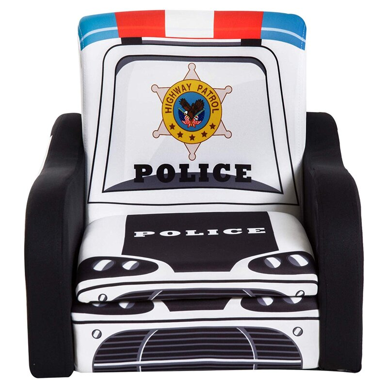 Zoomie Kids Collett Police Car Kids Chair With Storage Compartment
