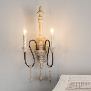 French country sconces youll love wayfair corneau 2 light candle wall light aloadofball Image collections