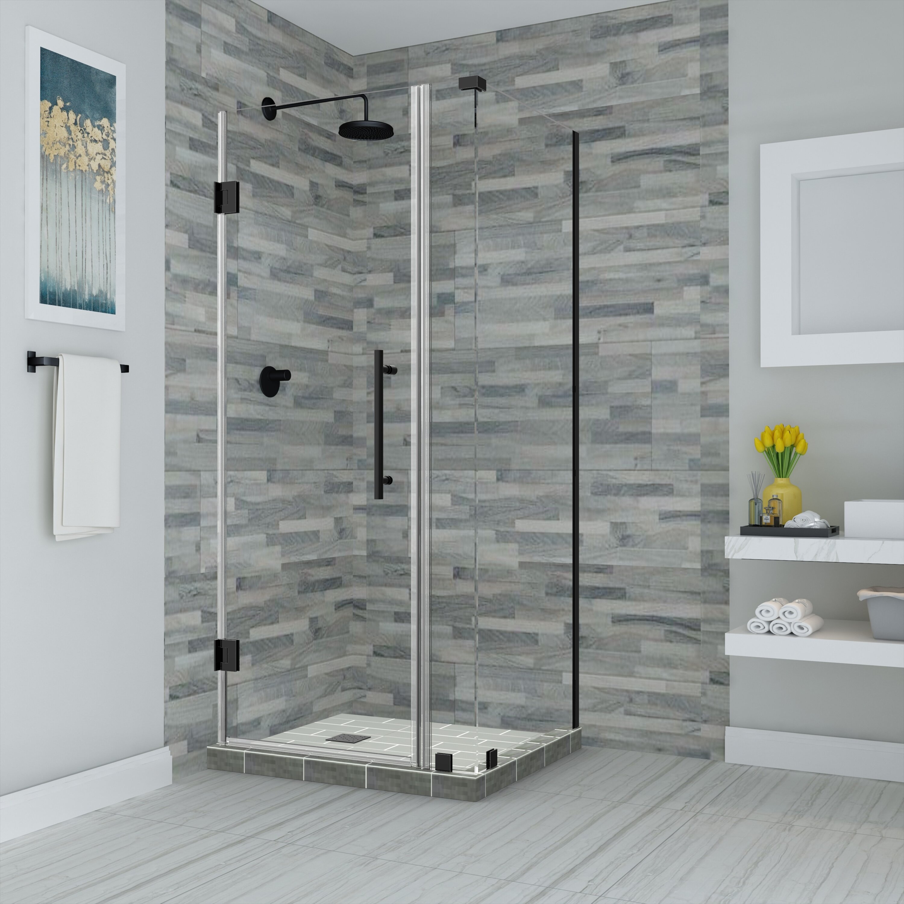 Marvelous Bromley Frameless With Glass Shelves 28 25 X 72 Rectangle Hinged Shower Enclosure Download Free Architecture Designs Scobabritishbridgeorg