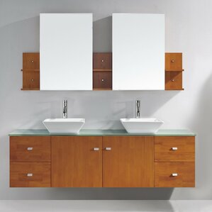 clarissa 72 double bathroom vanity set with tempered glass top and mirror