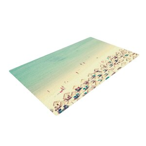 Ingrid Beddoes Happy Summer Beach Green/Cream Area Rug